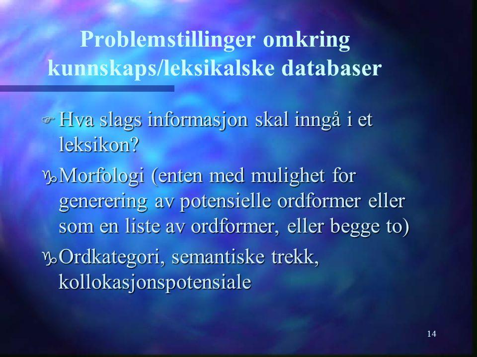 14 Problemstillinger omkring kunnskaps/leksikalske databaser F Hva slags informasjon skal inngå i et leksikon? g Morfologi (enten med mulighet for gen