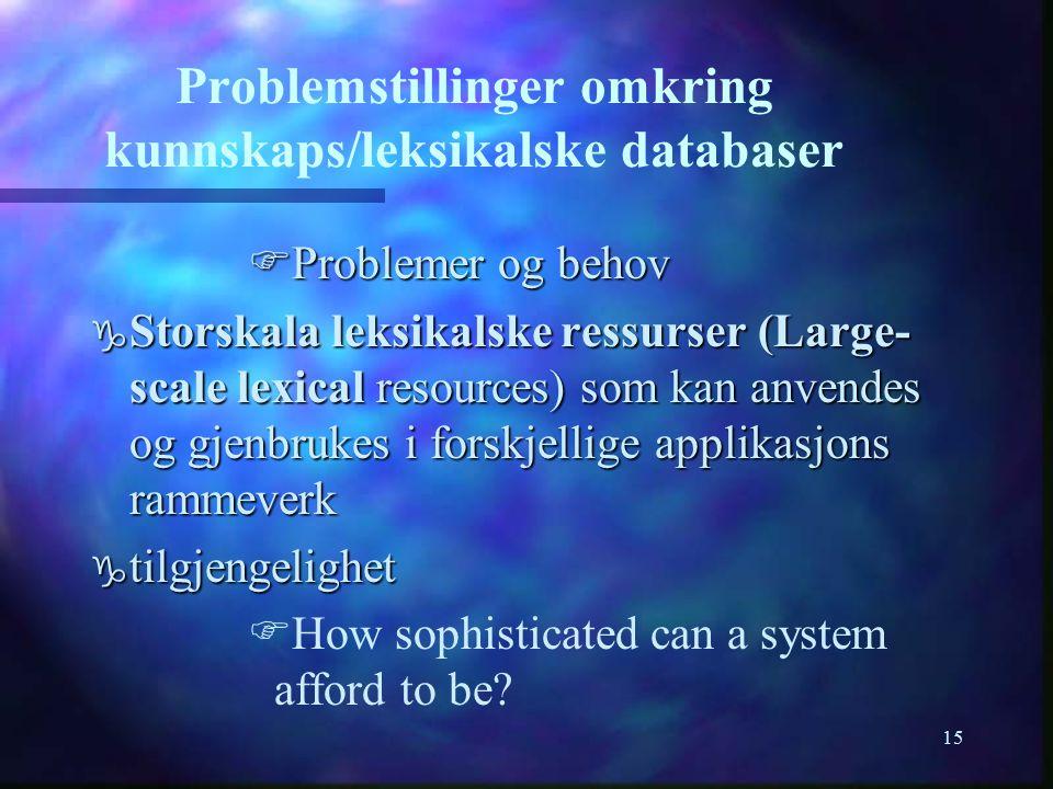 15 Problemstillinger omkring kunnskaps/leksikalske databaser FProblemer og behov g Storskala leksikalske ressurser (Large- scale lexical resources) so