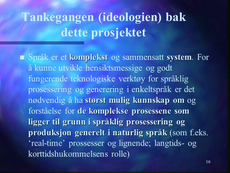 16 Tankegangen (ideologien) bak dette prosjektet komplekst system størst mulig kunnskap om de komplekse prosessene som ligger til grunn i språklig pro