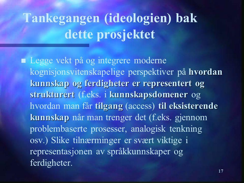 17 Tankegangen (ideologien) bak dette prosjektet hvordan kunnskap og ferdigheter er representert og strukturertkunnskapsdomener tilgangtil eksisterend