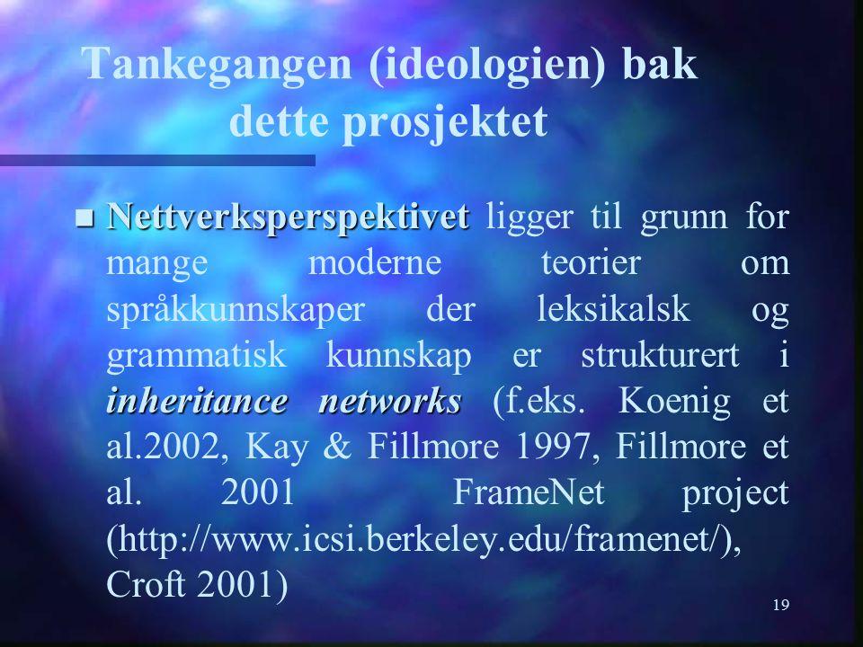 19 Tankegangen (ideologien) bak dette prosjektet n Nettverksperspektivet inheritance networks n Nettverksperspektivet ligger til grunn for mange moder