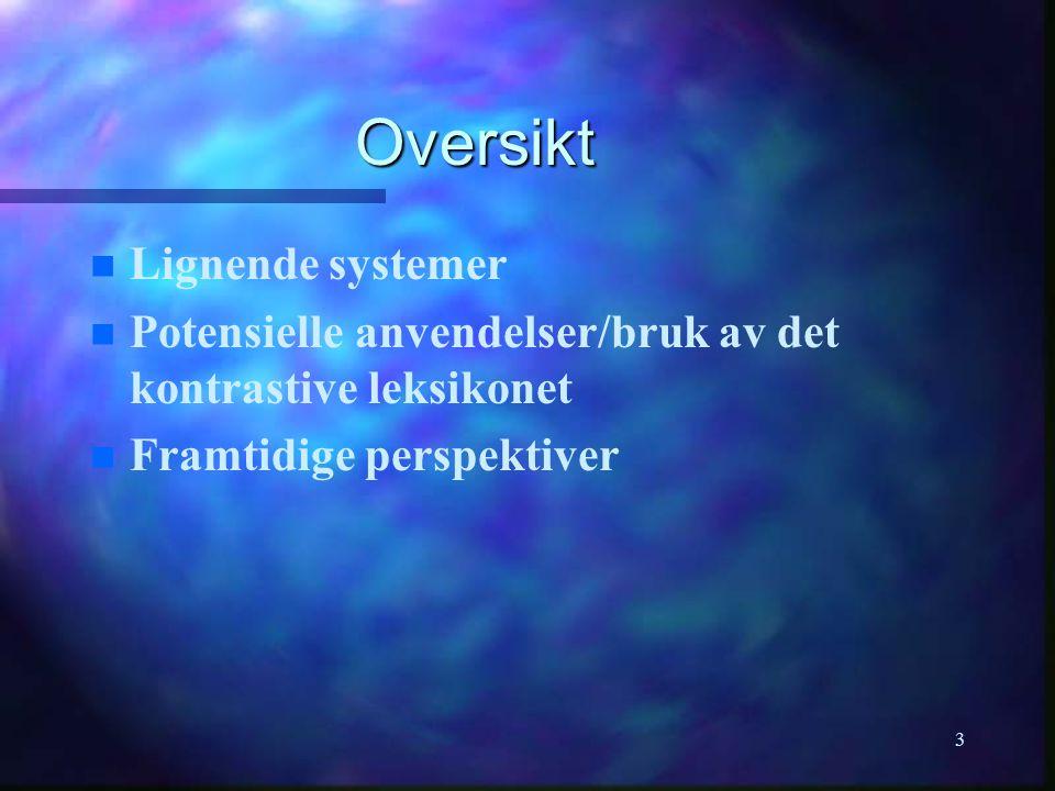 3 Oversikt n n Lignende systemer Potensielle anvendelser/bruk av det kontrastive leksikonet Framtidige perspektiver