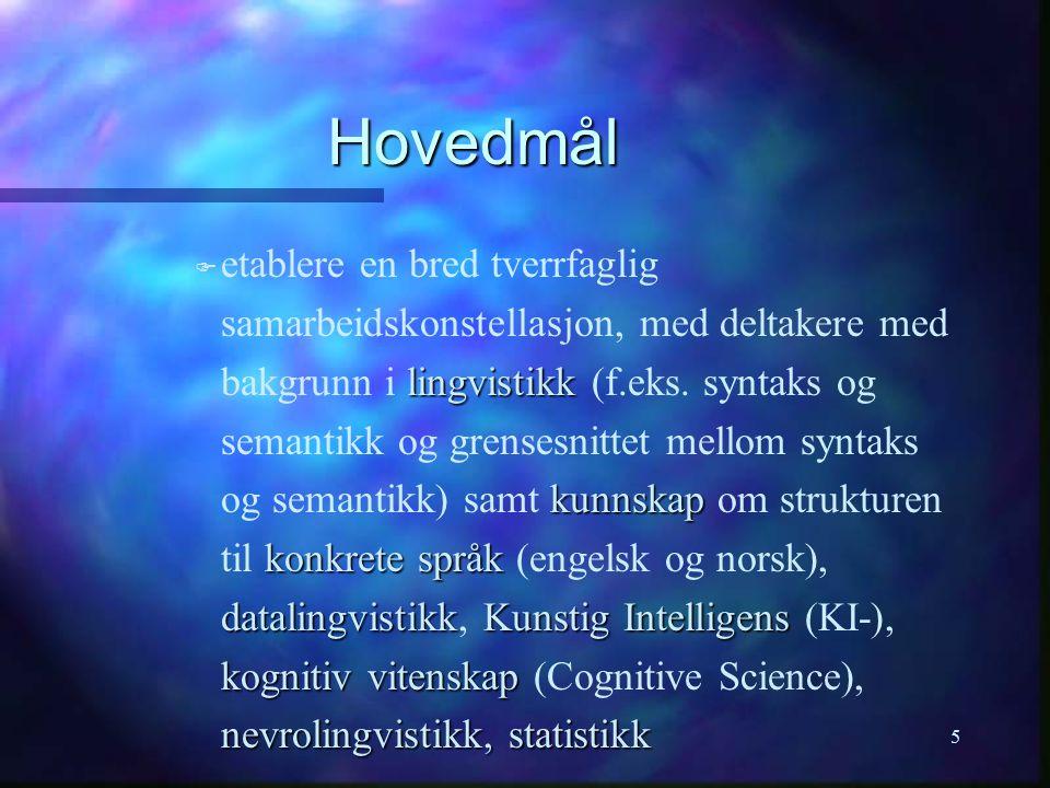 5 Hovedmål F lingvistikk kunnskap konkrete språk datalingvistikkKunstig Intelligens kognitiv vitenskap nevrolingvistikk, statistikk F etablere en bred