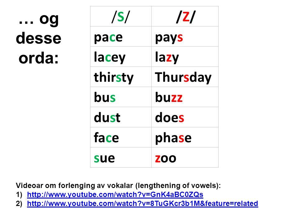 /S//S//Z//Z/ pacepays laceylazy thirstyThursday busbuzz dustdoes facephase suezoo … og desse orda: Videoar om forlenging av vokalar (lengthening of vowels): 1)http://www.youtube.com/watch?v=GnK4aBC0ZQshttp://www.youtube.com/watch?v=GnK4aBC0ZQs 2)http://www.youtube.com/watch?v=8TuGKcr3b1M&feature=relatedhttp://www.youtube.com/watch?v=8TuGKcr3b1M&feature=related