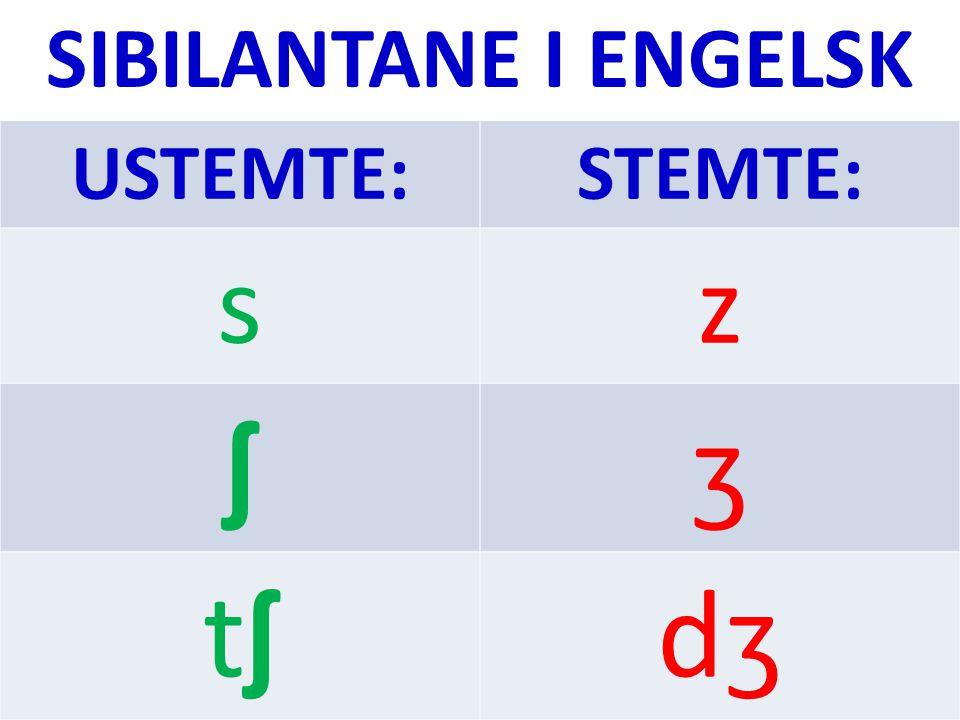 Dei ustemte sibilantane /s/, / ʃ / og /t ʃ / finst i både norsk og engelsk.