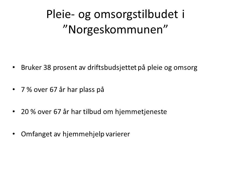Pleie- og omsorgstilbudet i Norgeskommunen Bruker 38 prosent av driftsbudsjettet på pleie og omsorg 7 % over 67 år har plass på 20 % over 67 år har tilbud om hjemmetjeneste Omfanget av hjemmehjelp varierer