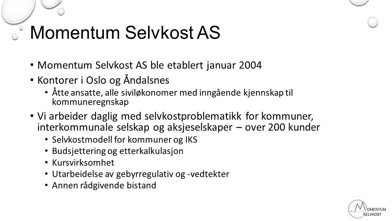 Momentum Selvkost AS ble etablert januar 2004 Kontorer i Oslo og Åndalsnes Åtte ansatte, alle siviløkonomer med inngående kjennskap til kommuneregnska