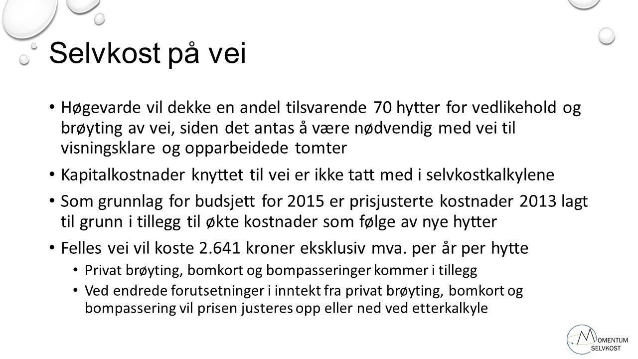Selvkost på vei Høgevarde vil dekke en andel tilsvarende 70 hytter for vedlikehold og brøyting av vei, siden det antas å være nødvendig med vei til vi