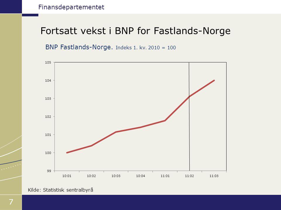 Finansdepartementet 8 Sterk vekst i sysselsettingen Akkumulert vekst i sysselsettingen siden 4.