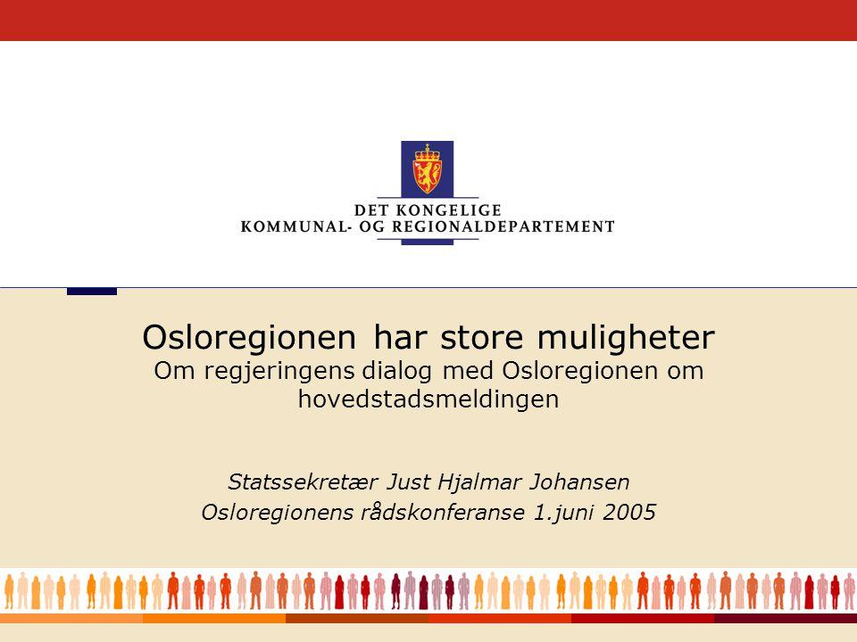 1 Statssekretær Just Hjalmar Johansen Osloregionens rådskonferanse 1.juni 2005 Osloregionen har store muligheter Om regjeringens dialog med Osloregionen om hovedstadsmeldingen