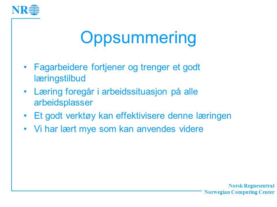 Norsk Regnesentral Norwegian Computing Center Oppsummering Fagarbeidere fortjener og trenger et godt læringstilbud Læring foregår i arbeidssituasjon på alle arbeidsplasser Et godt verktøy kan effektivisere denne læringen Vi har lært mye som kan anvendes videre