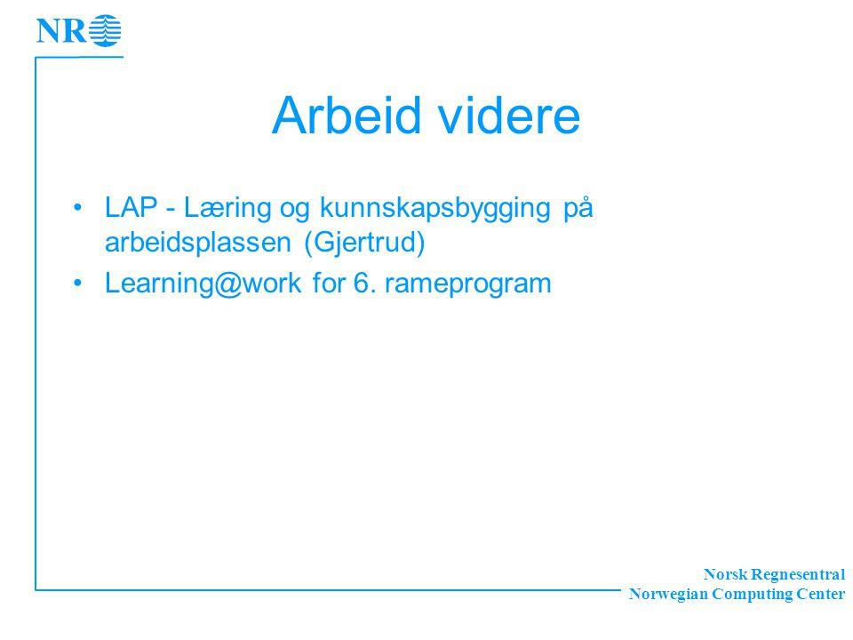 Norsk Regnesentral Norwegian Computing Center Arbeid videre LAP - Læring og kunnskapsbygging på arbeidsplassen (Gjertrud) Learning@work for 6.