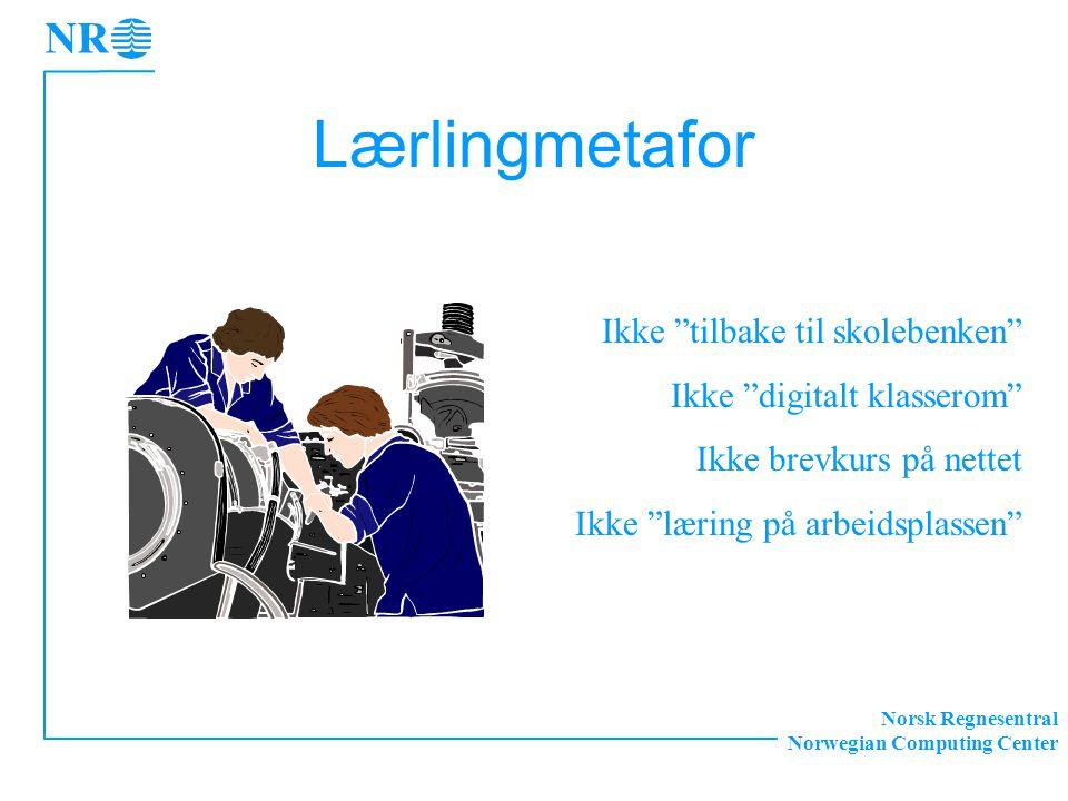 Norsk Regnesentral Norwegian Computing Center Lærlingmetafor Ikke tilbake til skolebenken Ikke digitalt klasserom Ikke brevkurs på nettet Ikke læring på arbeidsplassen