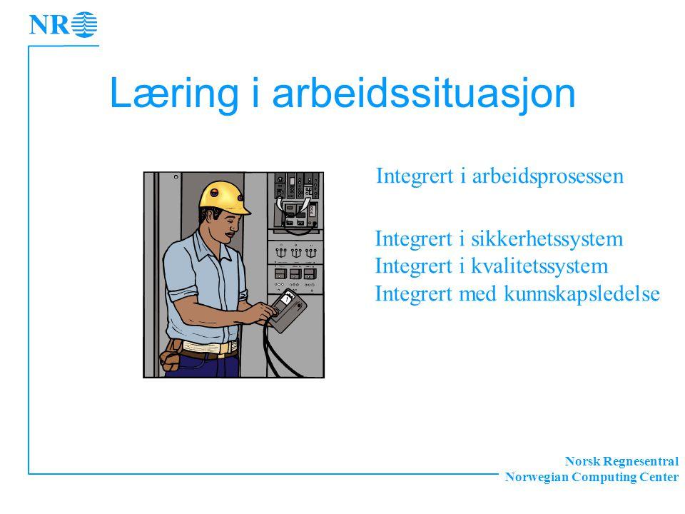 Norsk Regnesentral Norwegian Computing Center Læring i arbeidssituasjon Integrert i arbeidsprosessen Integrert i sikkerhetssystem Integrert i kvalitetssystem Integrert med kunnskapsledelse
