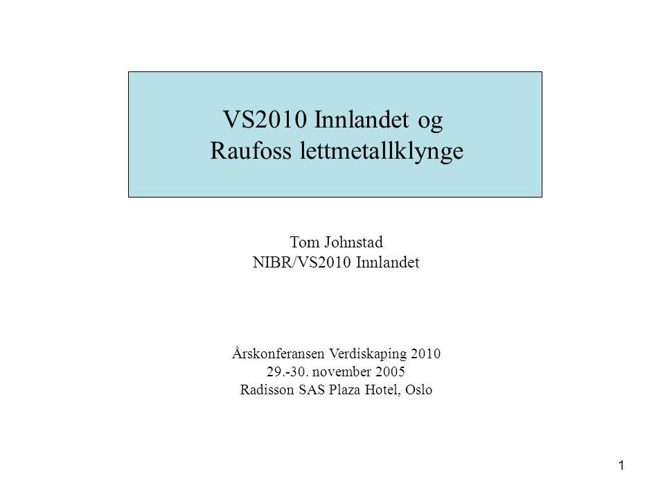 1 VS2010 Innlandet og Raufoss lettmetallklynge Tom Johnstad NIBR/VS2010 Innlandet Årskonferansen Verdiskaping 2010 29.-30. november 2005 Radisson SAS