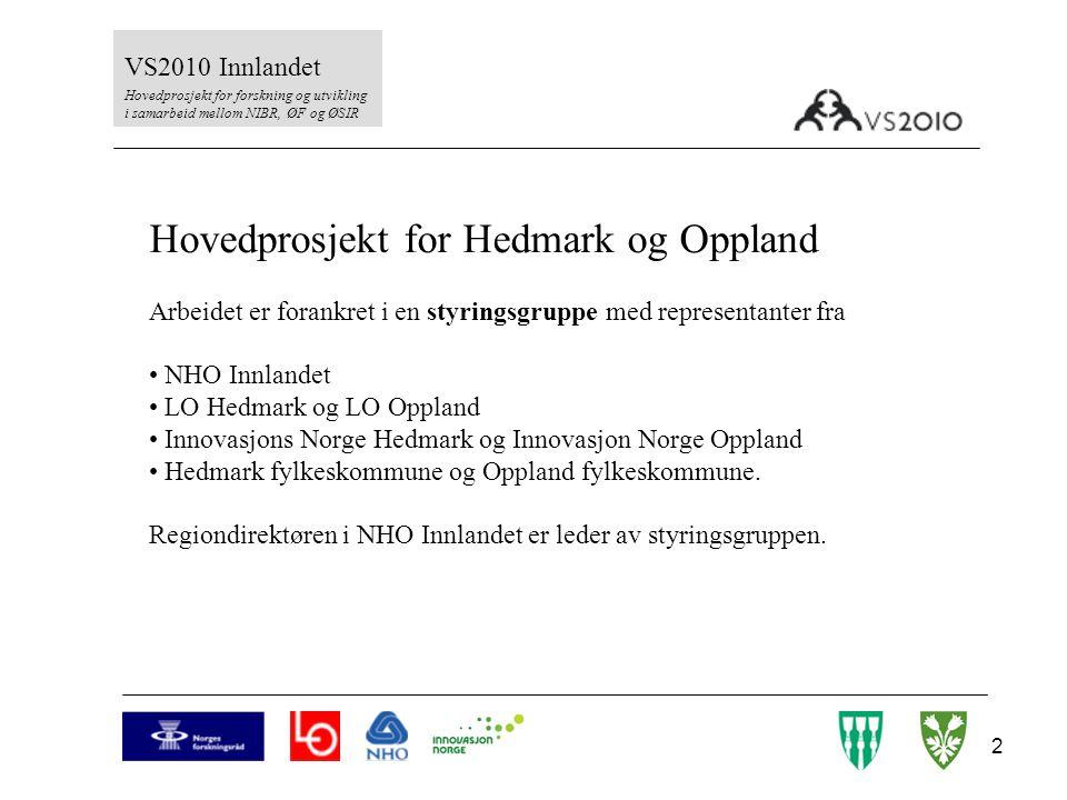 2 VS2010 Innlandet Hovedprosjekt for forskning og utvikling i samarbeid mellom NIBR, ØF og ØSIR Hovedprosjekt for Hedmark og Oppland Arbeidet er foran