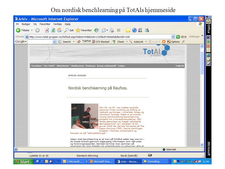 21 Om nordisk benchlearning på TotAls hjemmeside