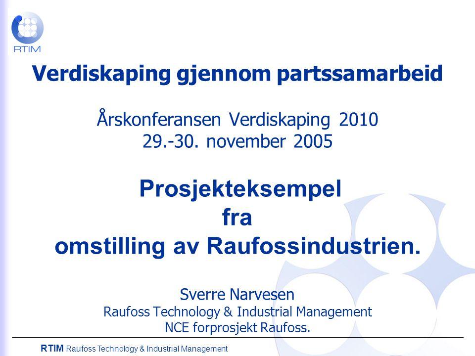 RTIM Raufoss Technology & Industrial Management Verdiskaping gjennom partssamarbeid Årskonferansen Verdiskaping 2010 29.-30. november 2005 Prosjekteks