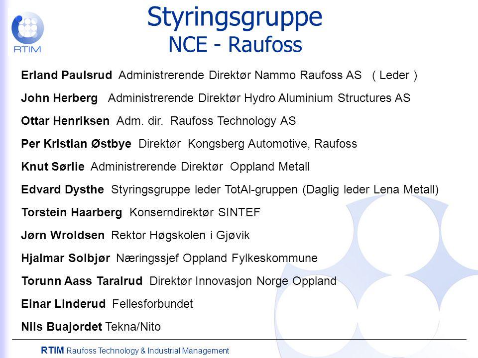 RTIM Raufoss Technology & Industrial Management Styringsgruppe NCE - Raufoss Erland Paulsrud Administrerende Direktør Nammo Raufoss AS ( Leder ) John