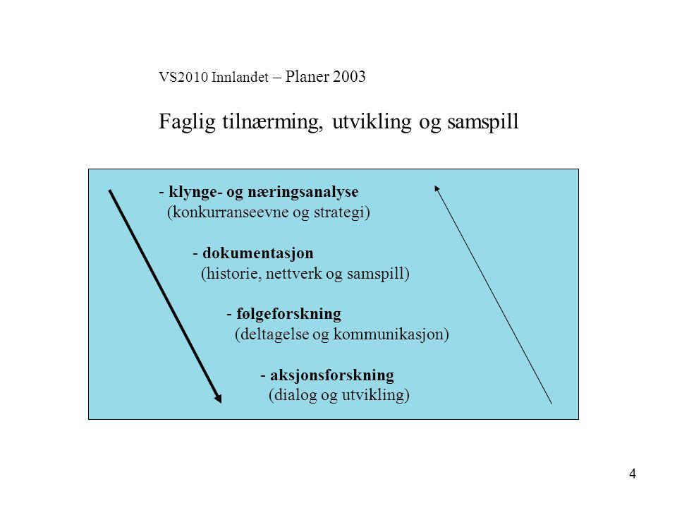 5 VS2010 Innlandet – Fokus 2003 Samspillseffekter og verdiskaping Bedriftsnettverk Arena/SND HF/NHO-LO VS2010 Kunnskapspark/ Driver