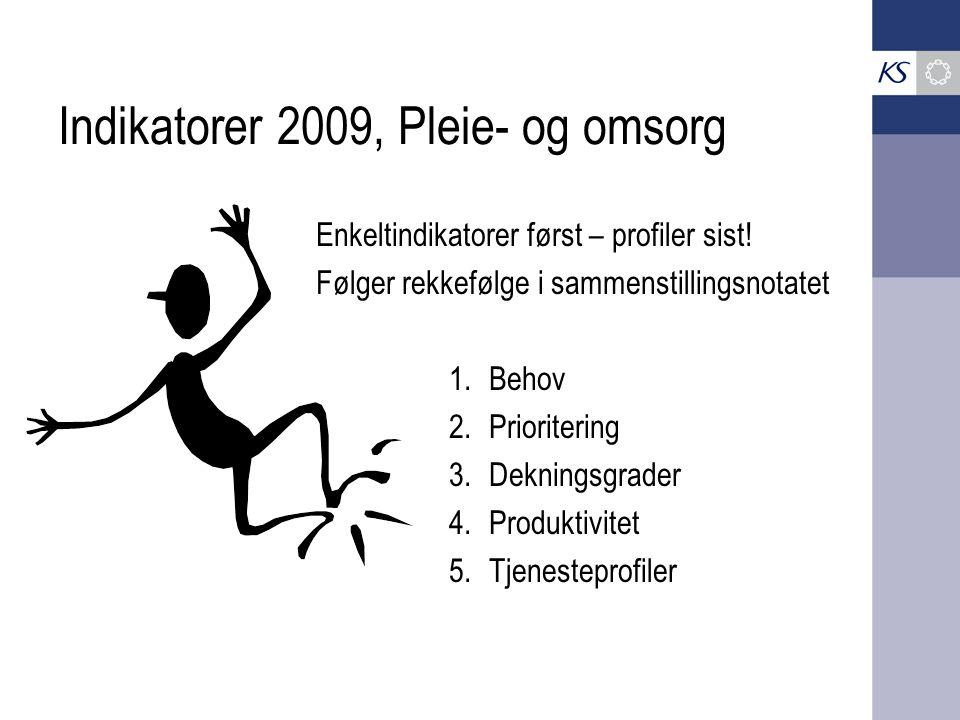 Indikatorer 2009, Pleie- og omsorg Enkeltindikatorer først – profiler sist! Følger rekkefølge i sammenstillingsnotatet 1.Behov 2.Prioritering 3.Deknin