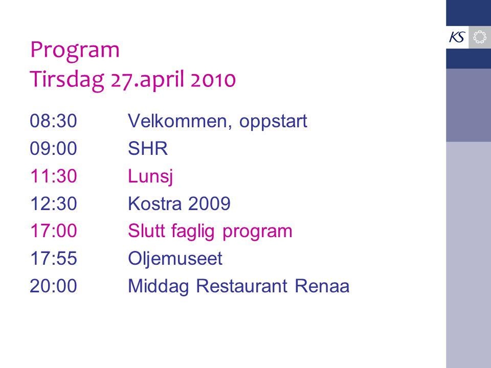Program Tirsdag 27.april 2010 08:30Velkommen, oppstart 09:00SHR 11:30Lunsj 12:30Kostra 2009 17:00Slutt faglig program 17:55Oljemuseet 20:00Middag Rest