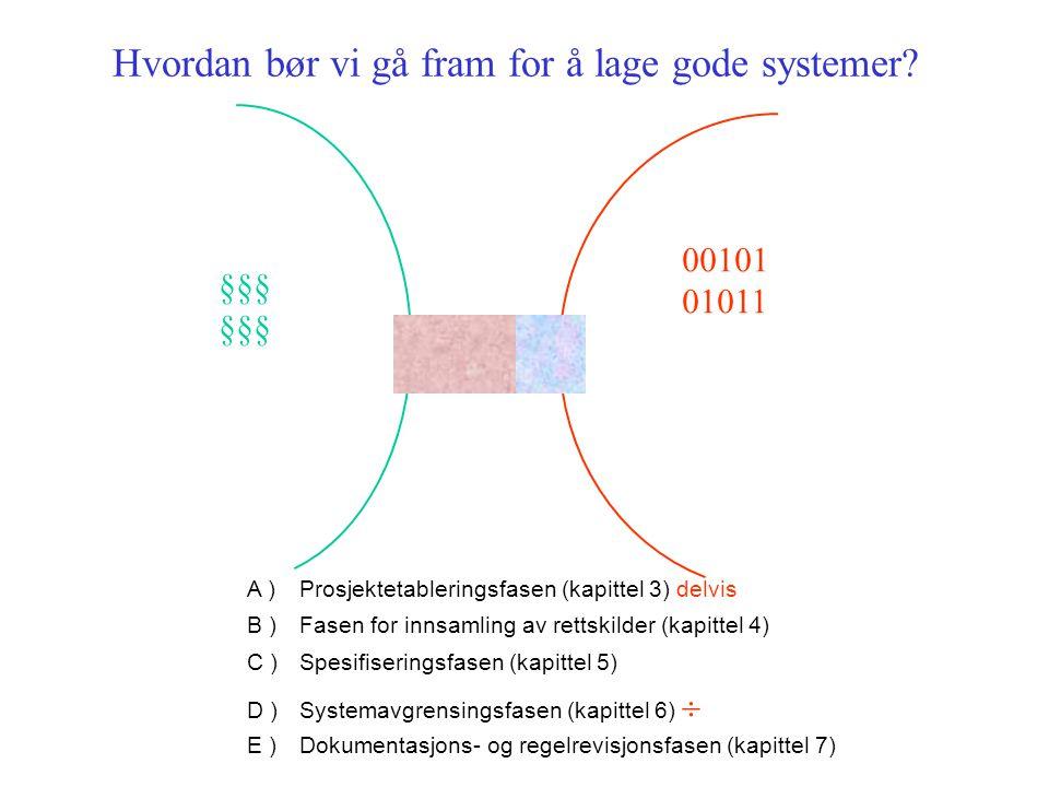 Eksempel på systematisering av spørsmål som inngår i transformeringen, jf spesifiseringsfasen