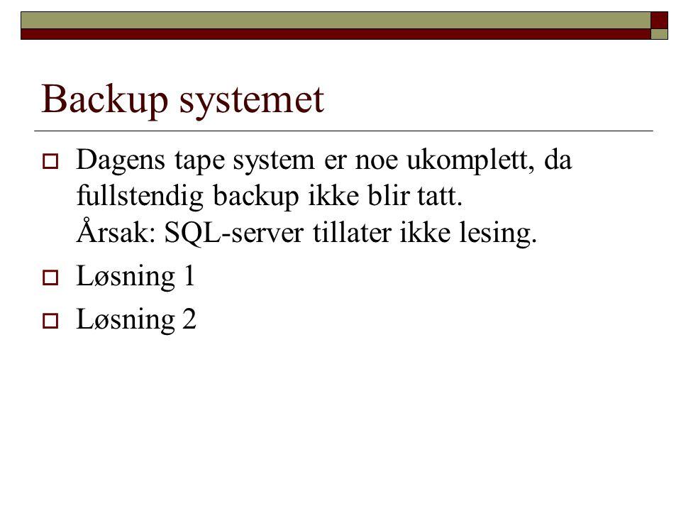 Backup systemet  Dagens tape system er noe ukomplett, da fullstendig backup ikke blir tatt.