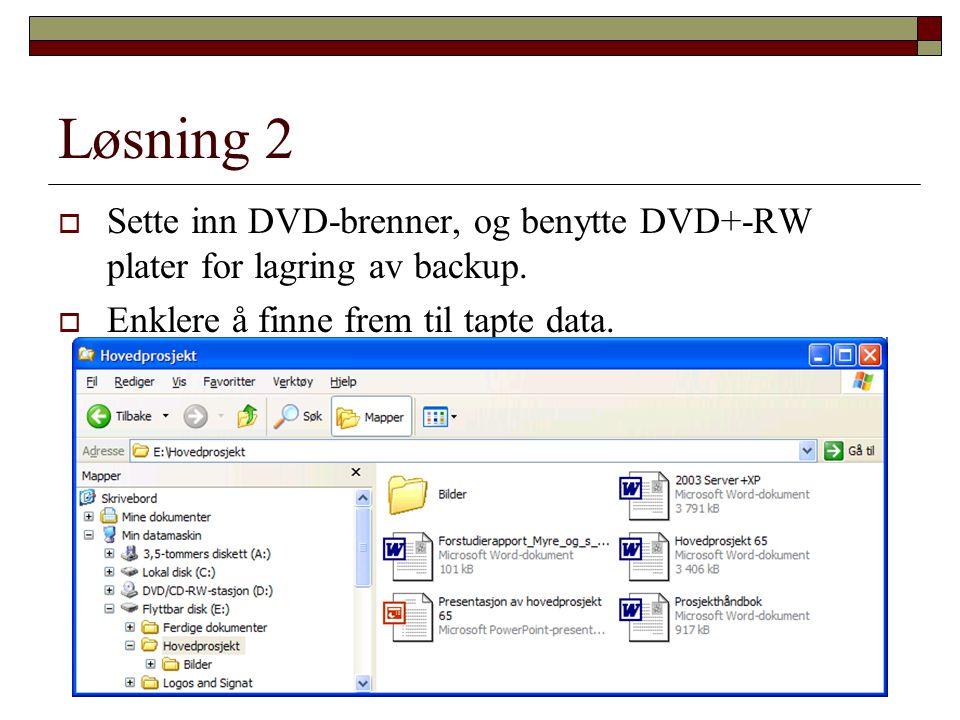 Løsning 2  Sette inn DVD-brenner, og benytte DVD+-RW plater for lagring av backup.