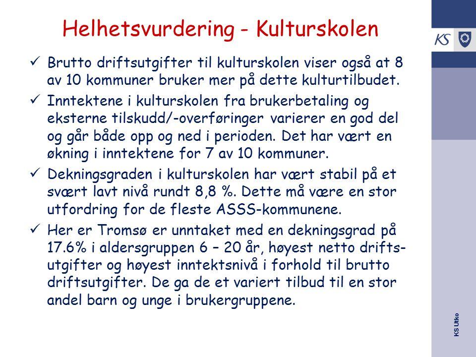 KS Utko Helhetsvurdering - Kulturskolen Brutto driftsutgifter til kulturskolen viser også at 8 av 10 kommuner bruker mer på dette kulturtilbudet. Innt