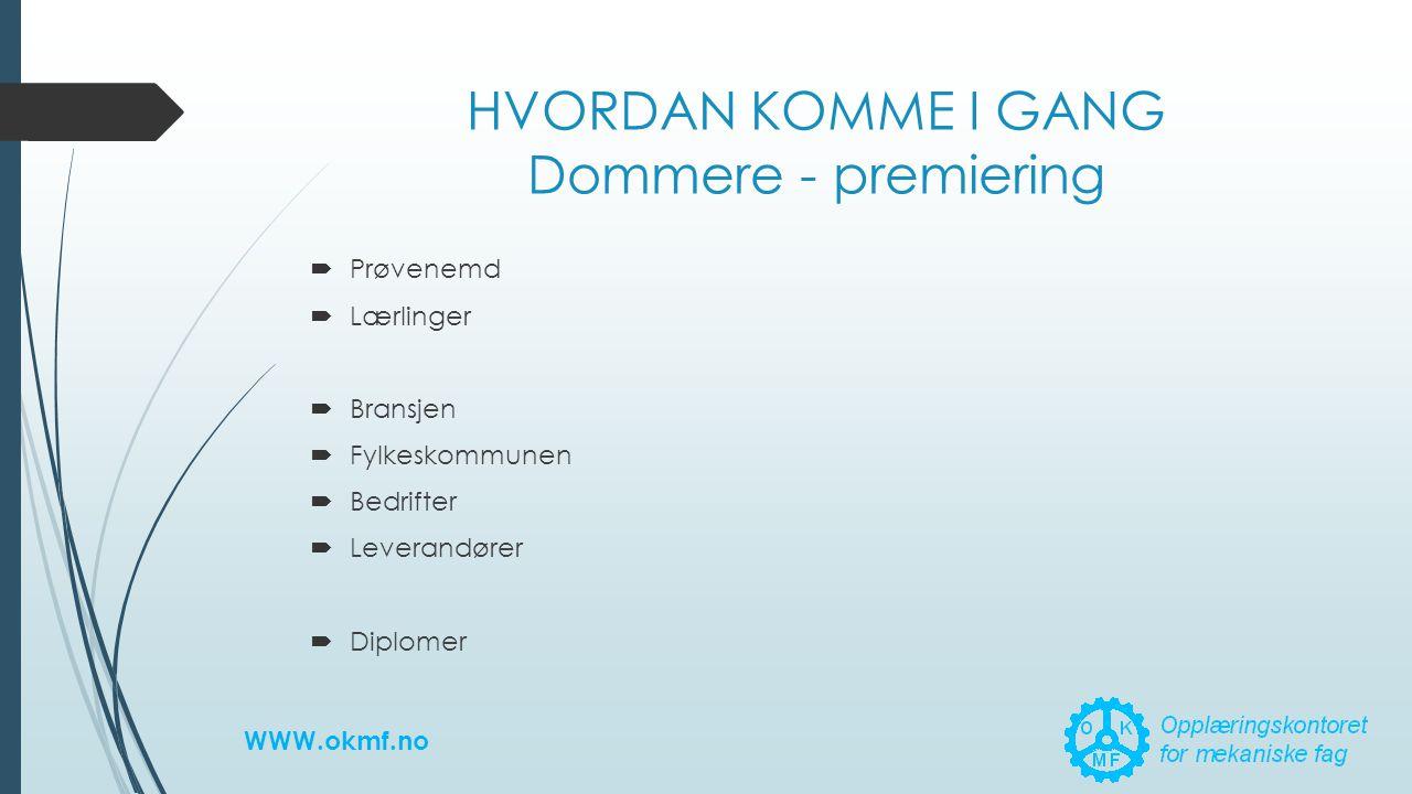 HVORDAN KOMME I GANG Dommere - premiering  Prøvenemd  Lærlinger  Bransjen  Fylkeskommunen  Bedrifter  Leverandører  Diplomer WWW.okmf.no