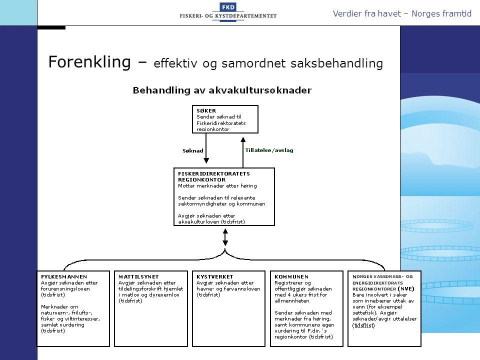 Verdier fra havet – Norges framtid Forenkling – effektiv og samordnet saksbehandling