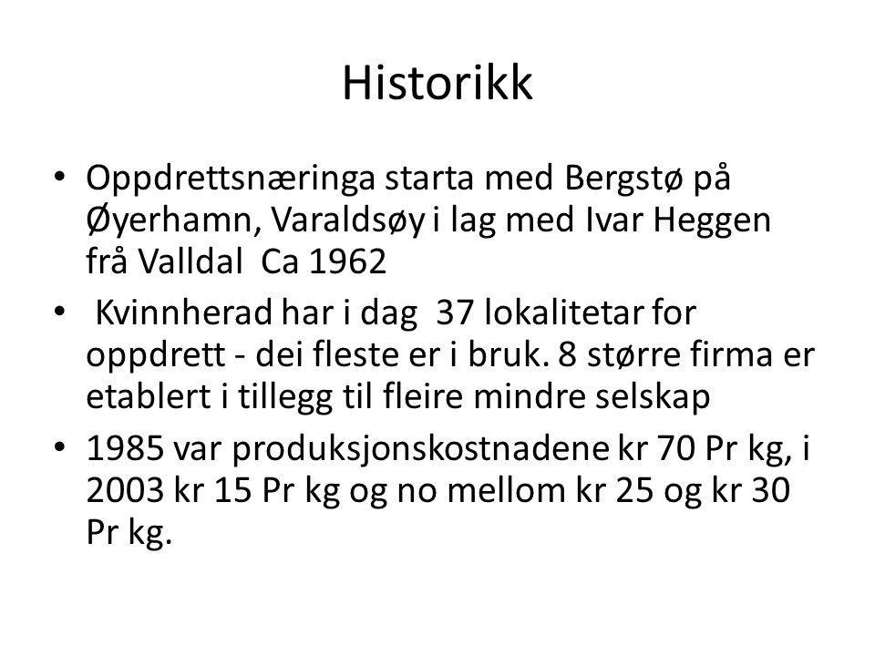 Historikk Oppdrettsnæringa starta med Bergstø på Øyerhamn, Varaldsøy i lag med Ivar Heggen frå Valldal Ca 1962 Kvinnherad har i dag 37 lokalitetar for