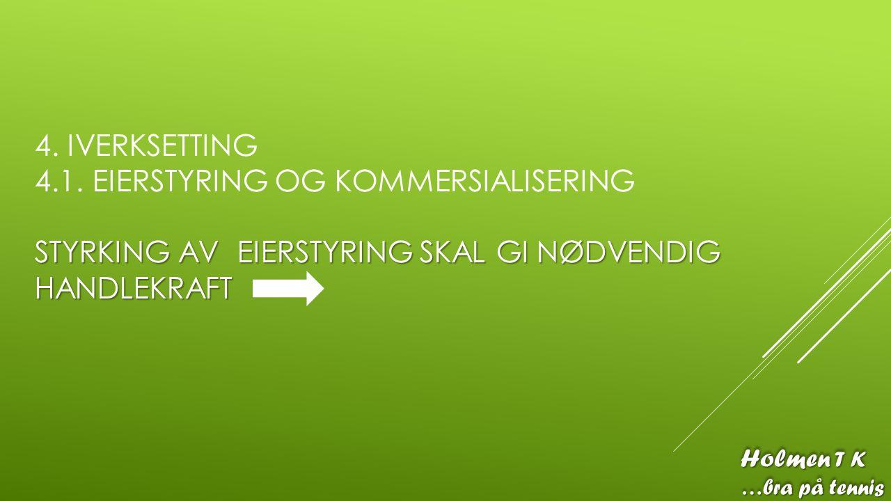 STYRKING AV EIERSTYRING SKAL GI NØDVENDIG HANDLEKRAFT 4. IVERKSETTING 4.1. EIERSTYRING OG KOMMERSIALISERING STYRKING AV EIERSTYRING SKAL GI NØDVENDIG