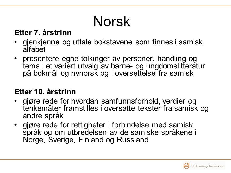 Norsk Etter 7. årstrinn gjenkjenne og uttale bokstavene som finnes i samisk alfabet presentere egne tolkinger av personer, handling og tema i et varie