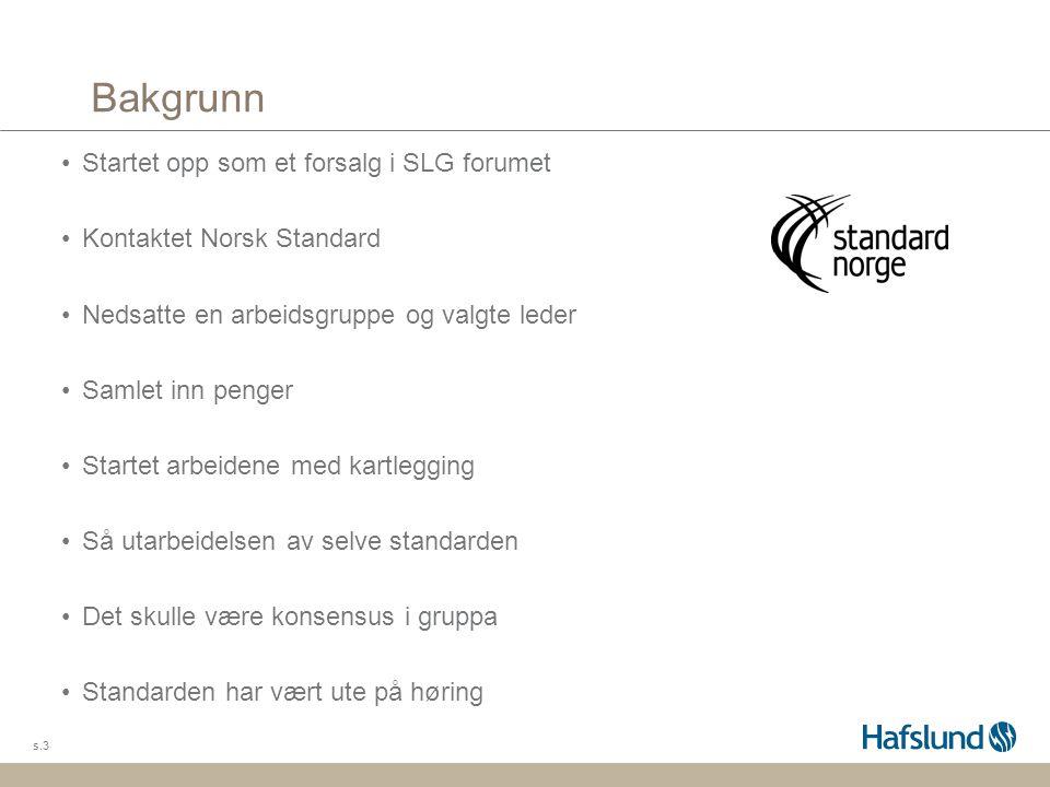 Bakgrunn Startet opp som et forsalg i SLG forumet Kontaktet Norsk Standard Nedsatte en arbeidsgruppe og valgte leder Samlet inn penger Startet arbeide