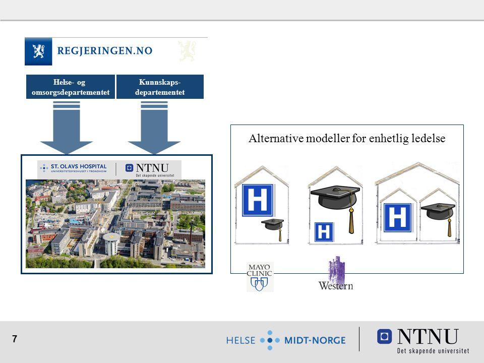 7 Helse- og omsorgsdepartementet Kunnskaps- departementet Alternative modeller for enhetlig ledelse