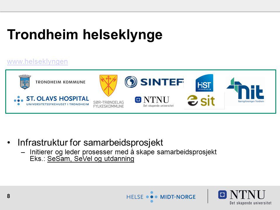 8 Trondheim helseklynge www.helseklyngen Infrastruktur for samarbeidsprosjekt –Initierer og leder prosesser med å skape samarbeidsprosjekt Eks.: SeSam