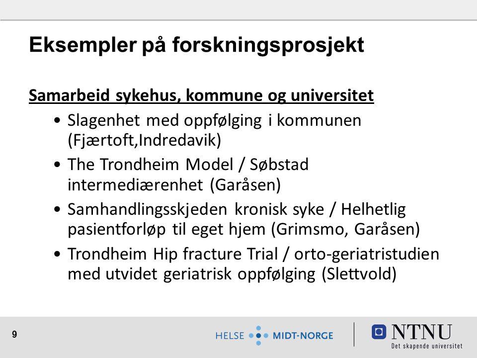 9 Eksempler på forskningsprosjekt Samarbeid sykehus, kommune og universitet Slagenhet med oppfølging i kommunen (Fjærtoft,Indredavik) The Trondheim Mo