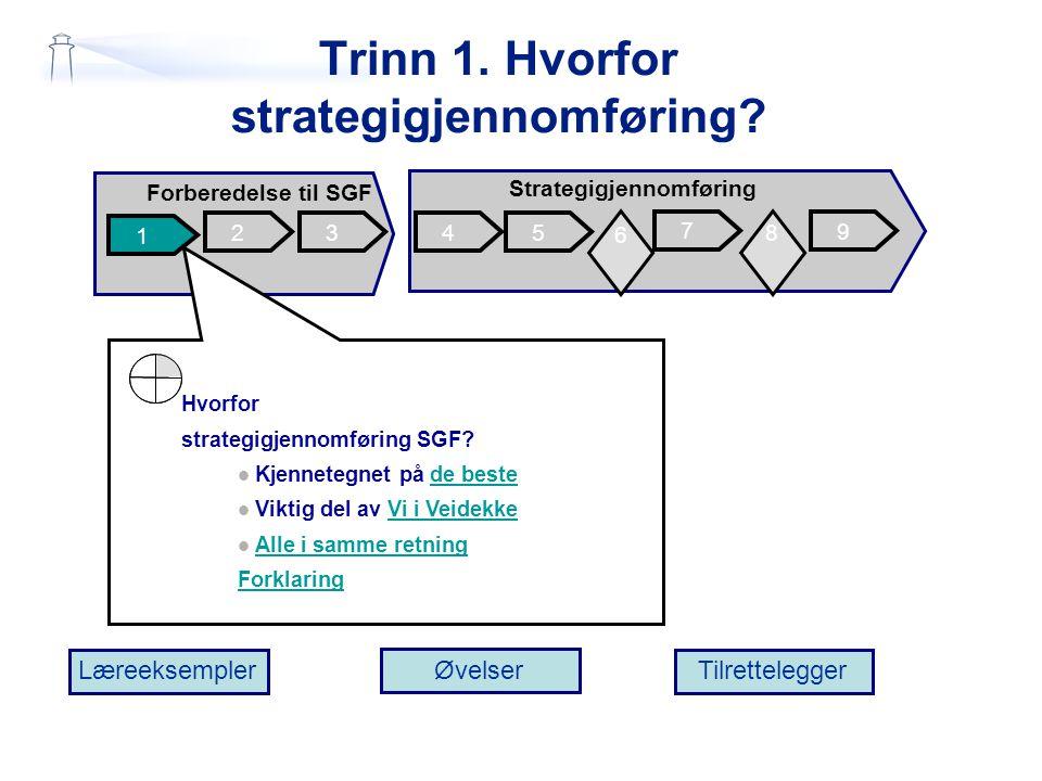 Trinn 1. Hvorfor strategigjennomføring? 2 1 345 7 Forberedelse til SGF Strategigjennomføring 9 6 6 8 Læreeksempler Øvelser Tilrettelegger 6 Hvorfor st