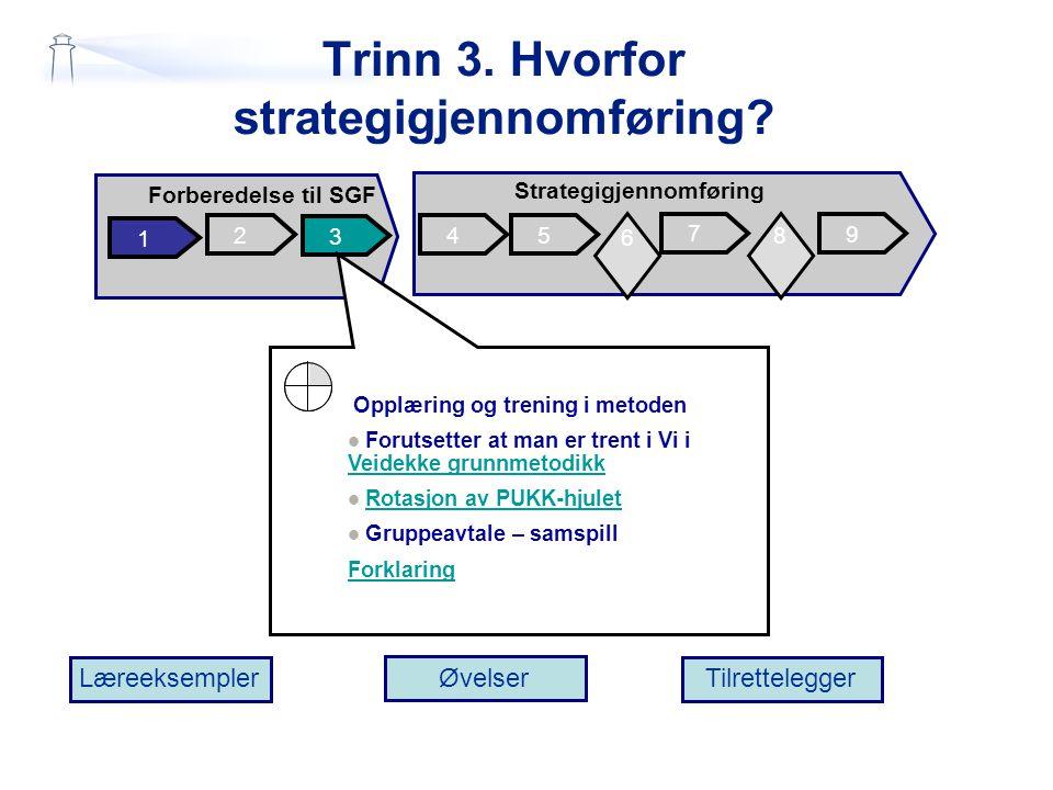 Trinn 3. Hvorfor strategigjennomføring? 6 2 1 3 45 7 Forberedelse til SGF Strategigjennomføring 9 6 6 8 Læreeksempler Øvelser Tilrettelegger 6 Opplæri