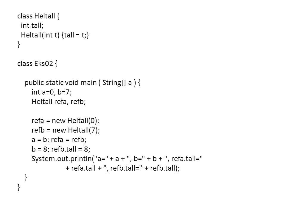 class Heltall { int tall; Heltall(int t) {tall = t;} } class Eks02 { public static void main ( String[] a ) { int a=0, b=7; Heltall refa, refb; refa =