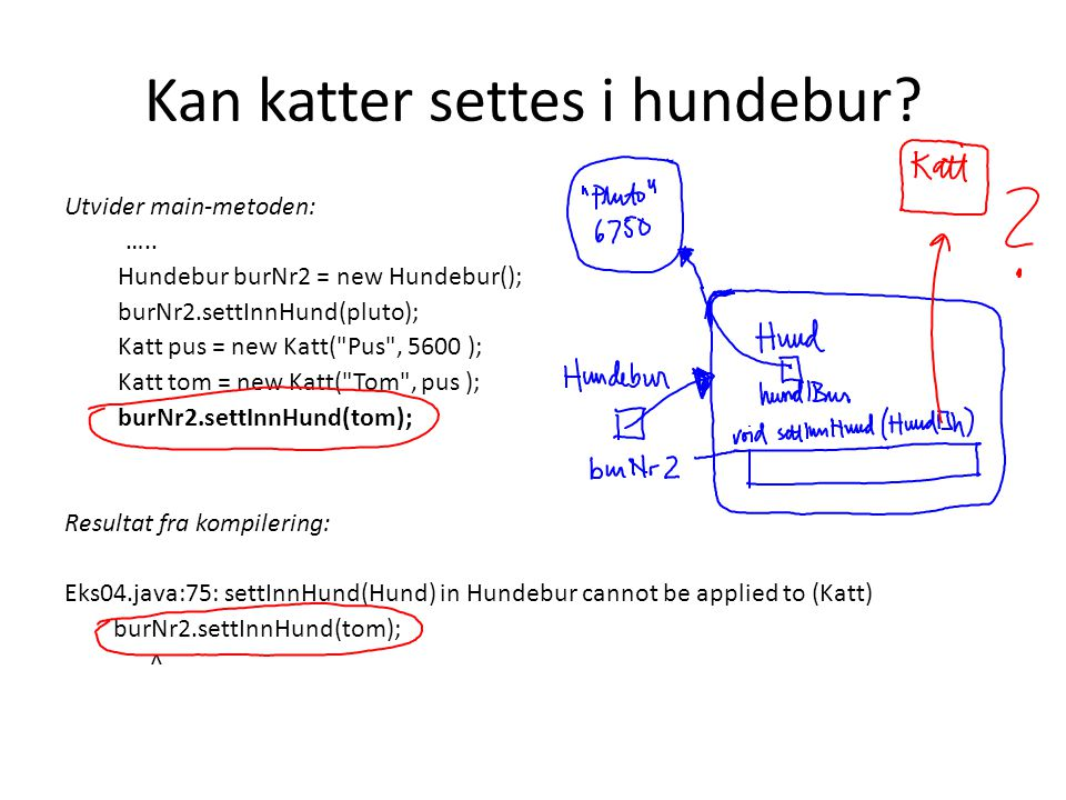 Kan katter settes i hundebur? Utvider main-metoden: ….. Hundebur burNr2 = new Hundebur(); burNr2.settInnHund(pluto); Katt pus = new Katt(