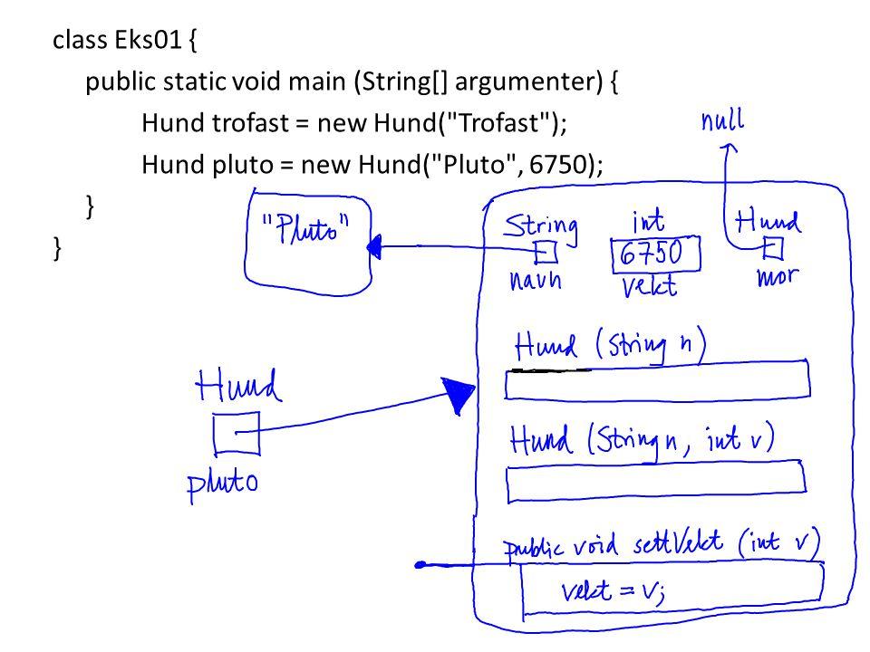 class Eks01 { public static void main (String[] argumenter) { Hund trofast = new Hund(