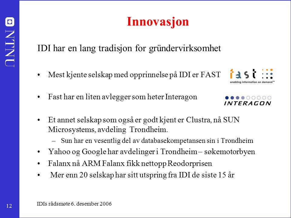 12 IDIs rådsmøte 6. desember 2006 Innovasjon IDI har en lang tradisjon for gründervirksomhet Mest kjente selskap med opprinnelse på IDI er FAST Fast h
