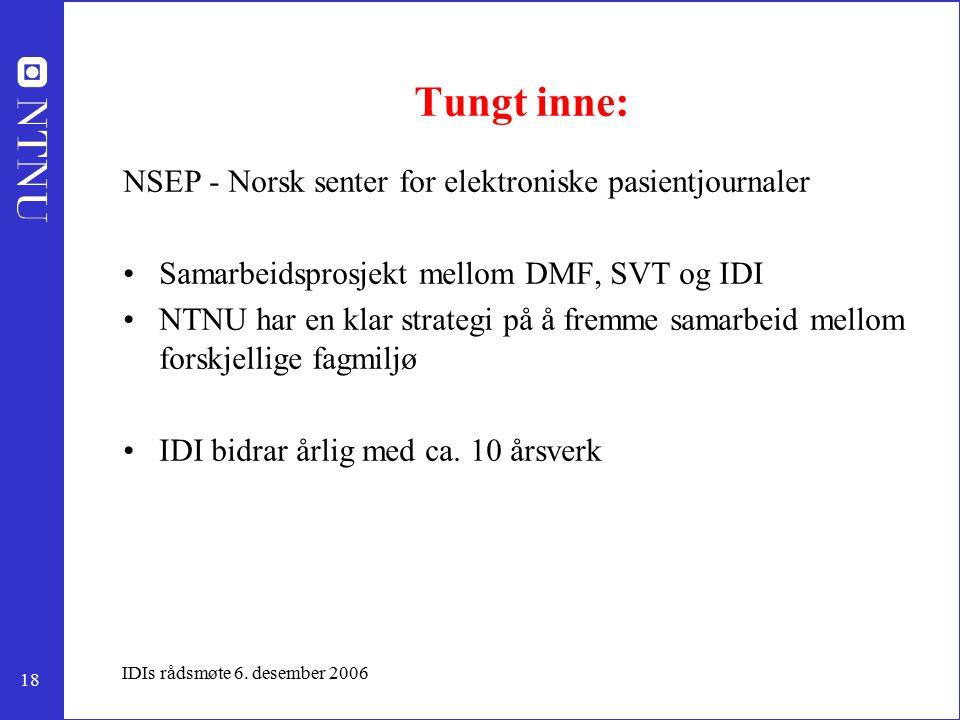18 IDIs rådsmøte 6. desember 2006 Tungt inne: NSEP - Norsk senter for elektroniske pasientjournaler Samarbeidsprosjekt mellom DMF, SVT og IDI NTNU har
