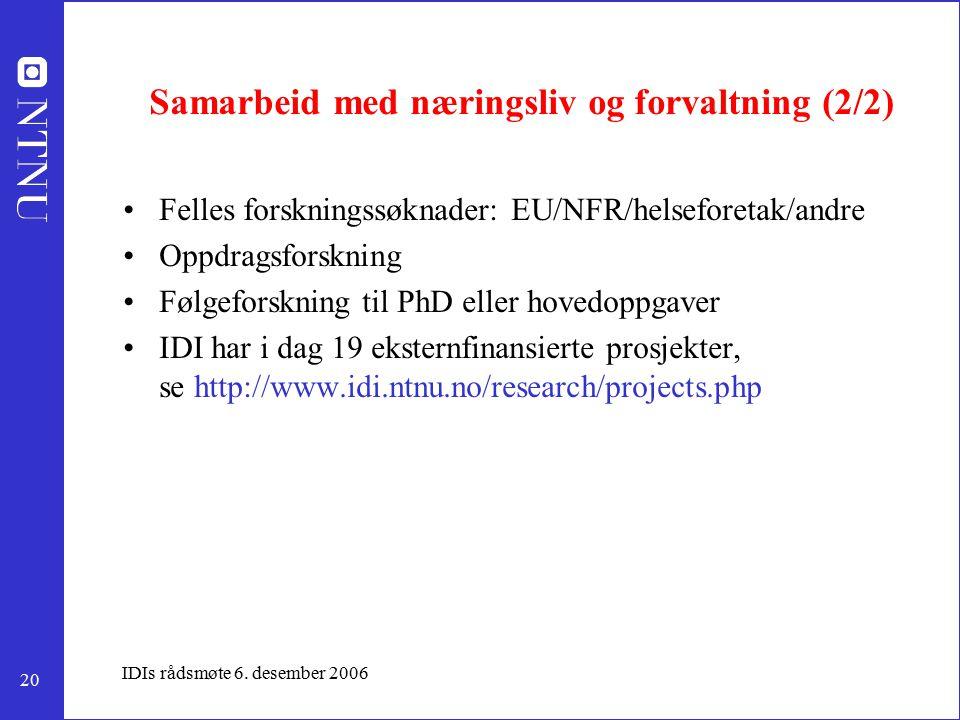 20 IDIs rådsmøte 6. desember 2006 Samarbeid med næringsliv og forvaltning (2/2) Felles forskningssøknader: EU/NFR/helseforetak/andre Oppdragsforskning