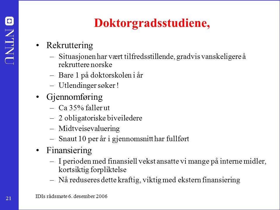 21 IDIs rådsmøte 6. desember 2006 Doktorgradsstudiene, Rekruttering –Situasjonen har vært tilfredsstillende, gradvis vanskeligere å rekruttere norske