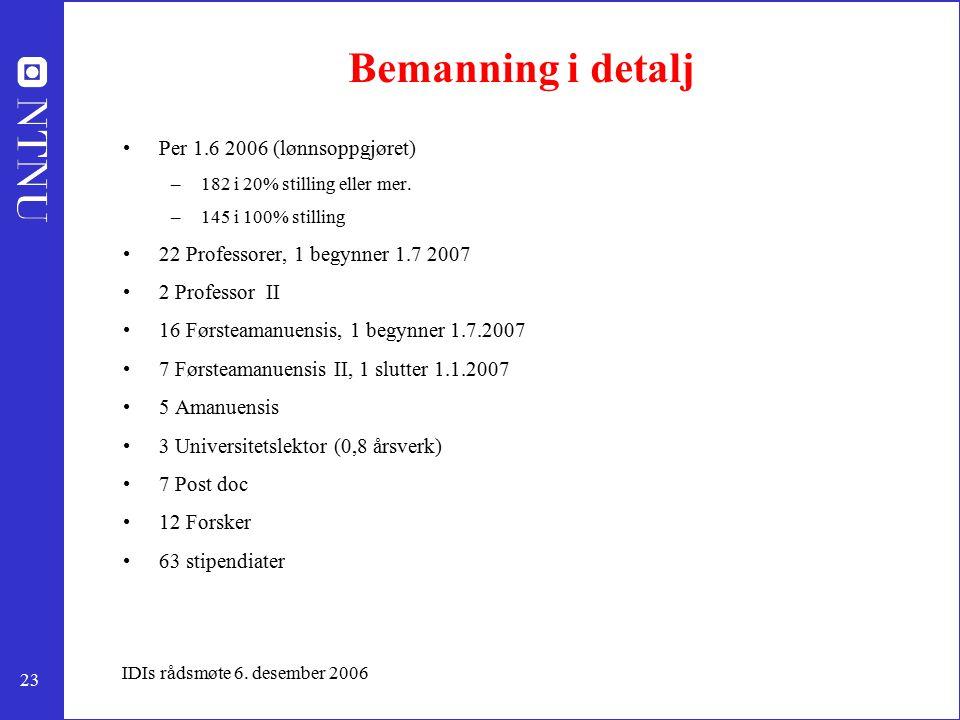 23 IDIs rådsmøte 6. desember 2006 Bemanning i detalj Per 1.6 2006 (lønnsoppgjøret) –182 i 20% stilling eller mer. –145 i 100% stilling 22 Professorer,