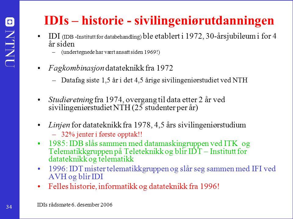 34 IDIs rådsmøte 6. desember 2006 IDIs – historie - sivilingeniørutdanningen IDI (IDB -Institutt for databehandling) ble etablert i 1972, 30-årsjubile